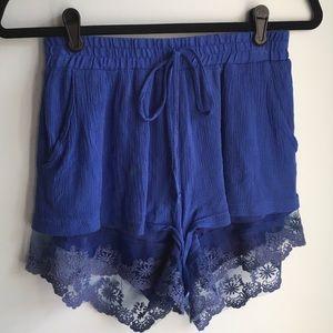 BCBG Flowy Blue Lace Shorts Size S